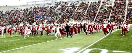 Alabama A&M University's band put on a show during the game. (Solomon Crenshaw Jr.)