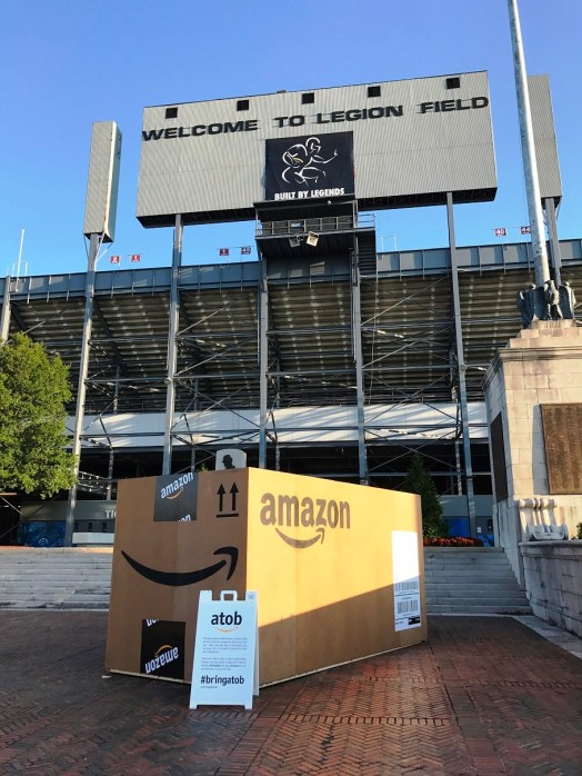 A giant Amazon box at Birmingham's Legion Field testifies to the city's attempt to snag the online retailer's second headquarters. (Michael Tomberlin/Alabama NewsCenter)