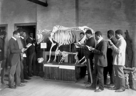 George Washington Carver leads an anatomy class at Tuskegee Institute. Carver taught a wide range of scientific subjects. (From Encyclopedia of Alabama, courtesy of the Library of Congress)