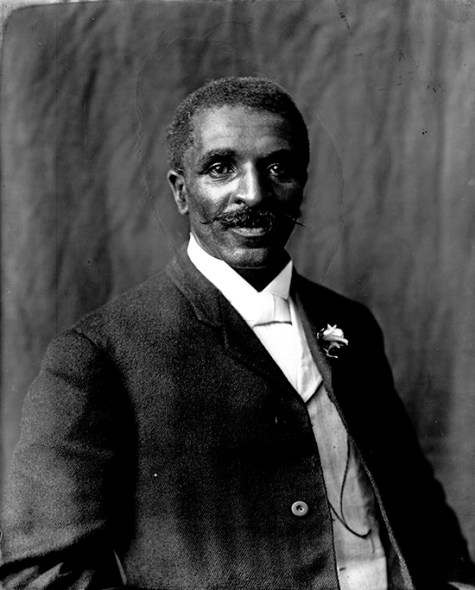George Washington Carver (1865-1943) was a renowned scholar, scientist and artist. He was Iowa State University's first African-American faculty member. Carver later became a distinguished faculty member at Tuskegee Normal and Industrial Institute (now Tuskegee University) in the field of agricultural science. His work was pivotal in weaning the South from its dependence on cotton farming, as he discovered commercial applications for crop alternatives such as peanuts and soybeans. (From Encyclopedia of Alabama, photograph by Arthur Rothstein, Library of Congress Prints and Photographs Division)