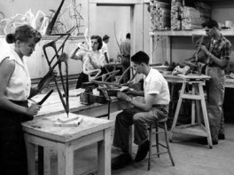 Christenberry received his training in studio art at the University of Alabama. Here, he and other students work on a sculpture project. (From Encyclopedia of Alabama, courtesy of W.S. Hoole Special Collections Library, The University of Alabama Libraries)