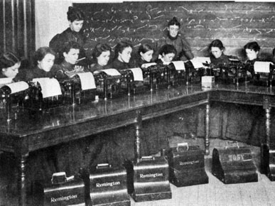 Young women take instruction in typing in this image from the late 1890s. The Alabama Girls' Industrial School was established in 1896 by reformer Julia Tutwiler and state Sen. Sol Bloch to provide women with broader educational opportunities. (From Encyclopedia of Alabama, courtesy of University of Montevallo)