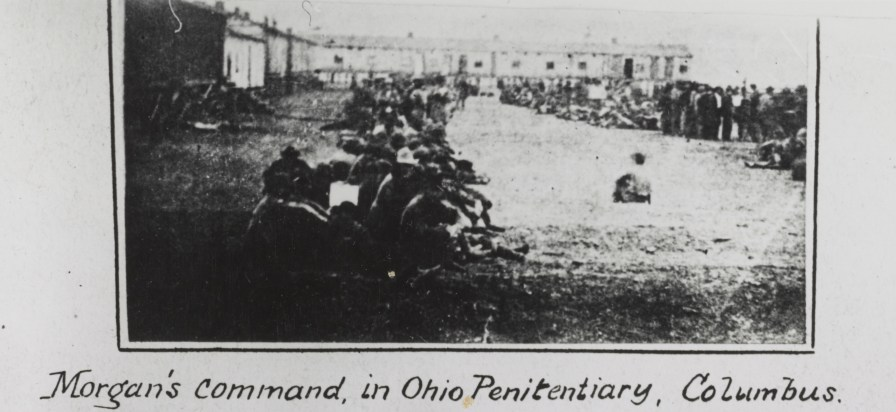 "Incomplete image captioned ""Morgan's Command in Ohio Penitentiary, Columbus."" (Library of Congress Prints and Photographs Division)"