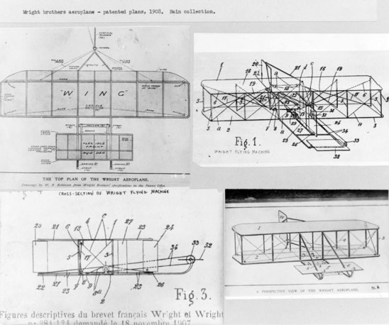 Wright brothers' plans for aeroplane patent, 1908. (Library of Congress Prints and Photographs Division)