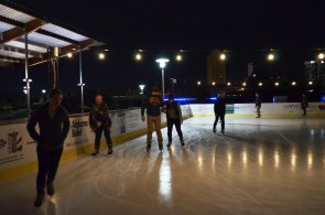 Skaters check out the Railroad Park ice rink in 2016, its first year. (Michael Tomberlin / Alabama NewsCenter)