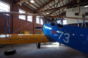 Restored Stearman PT-17 biplane on display in Hangar 1. (Erin Harney, Alabama NewsCenter)