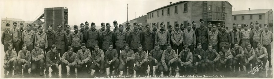 World War II combat survivors of Company B, 124th Infantry Regiment, 31st Infantry Division. Photo taken at Camp Stoneman, California, December 1945. (Photograph taken by the U.S. Army, Wikipedia)
