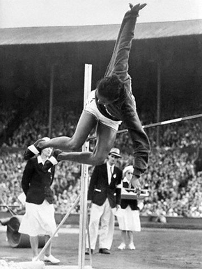 Tuskegee Institute alumnus Alice Coachman is seen breaking the women's high jump record in the 1948 Summer Olympics in London with a leap of 5 feet, 6 1/8 inches. (From Encyclopedia of Alabama, courtesy of Library of Congress)