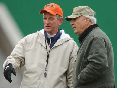 Former Auburn University football coaches Pat Dye, right, and Tommy Tuberville during a practice in December 2002. Dye retains close ties to the university and lives nearby in Notasulga, Macon County. Tuberville resigned as head coach in 2008. (From Encyclopedia of Alabama, courtesy of The Birmingham News)