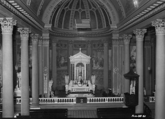 Historic American Buildings Survey photograph of the west end of the nave from the organ balcony showing the sanctuary and apse, Cathedral of the Immaculate Conception, Mobile, 1936. (Photograph by E.W. Russell, Library of Congress Prints and Photographs Division)