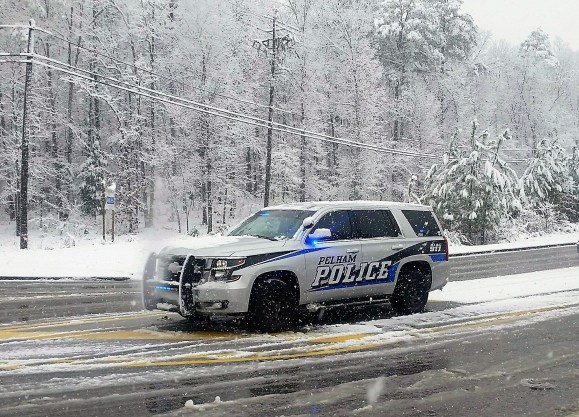 Pelham was painted with several inches of snow. (Pelham Police Department)