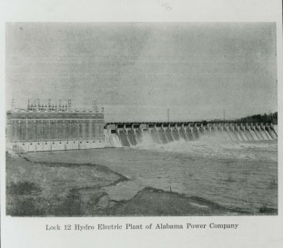 Lay Dam (Lock 12) hydroelectric plant, May 1920. (Alabama Power Company Archives)