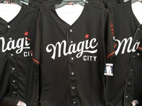 The Birmingham Barons' new Magic City uniform will be worn during Thursday home games in the upcoming season. (Marc Rice / Alabama NewsCenter)