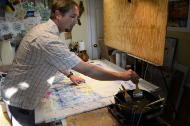 Cantrell at work in the studio. (Karim Shamsi-Basha / Alabama NewsCenter)