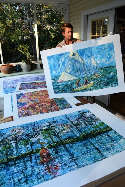 The results of Nick Cantrell's modification of the batik technique have been popular with Gulf Coast art buyers. (Karim Shamsi-Basha / Alabama NewsCenter)