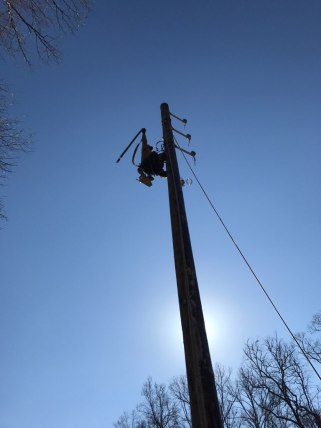 An Alabama Power lineman works restoring power to some of the 80,000 customers who lost service because of Winter Storm Benji. (Alabama Power)