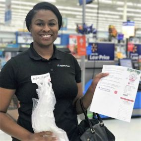 Customer Services Specialist Kaylon Mikula was among APSO shoppers. (Chitra Kirpalani)
