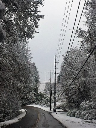 Snowfall offered a new look to familiar vistas throughout Alabama. (Donna Cope / Alabama NewsCenter)