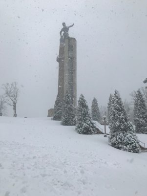 Vulcan Park atop Birmingham's Red Mountain received plenty of snowfall in a past snow event. (Vulcan Park)