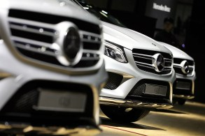 Mercedes-Benz AG vehicles stand on display during the press day of the Seoul Motor Show in Goyang, South Korea, earlier this year. Mercedes is nearing the finish line for 2017 with a healthy lead on its luxury competitors in the U.S. (SeongJoon Cho / Bloomberg)