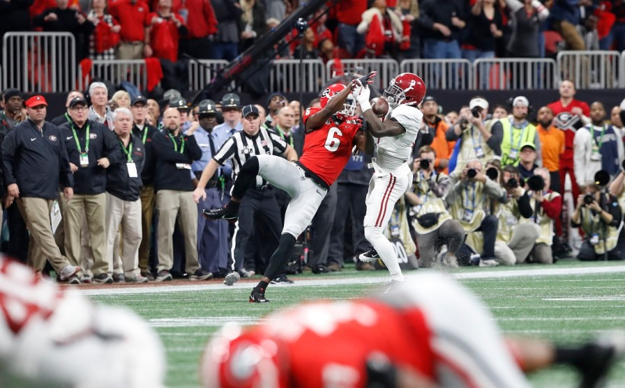 Alabama defensive back Tony Brown (2) makes an interception in the National Championship Game. (Crimson Tide Photos)