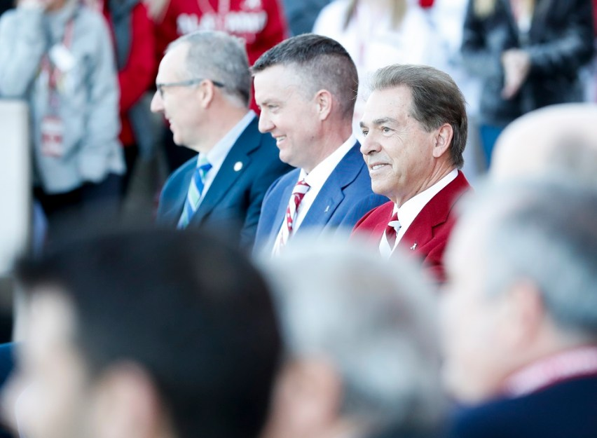 Celebrating Alabama's national championship were, from left, SEC Commissioner Greg Sankey, Director of Athletics Greg Byrne, and head coach Nick Saban. (Amelia B. Barton)