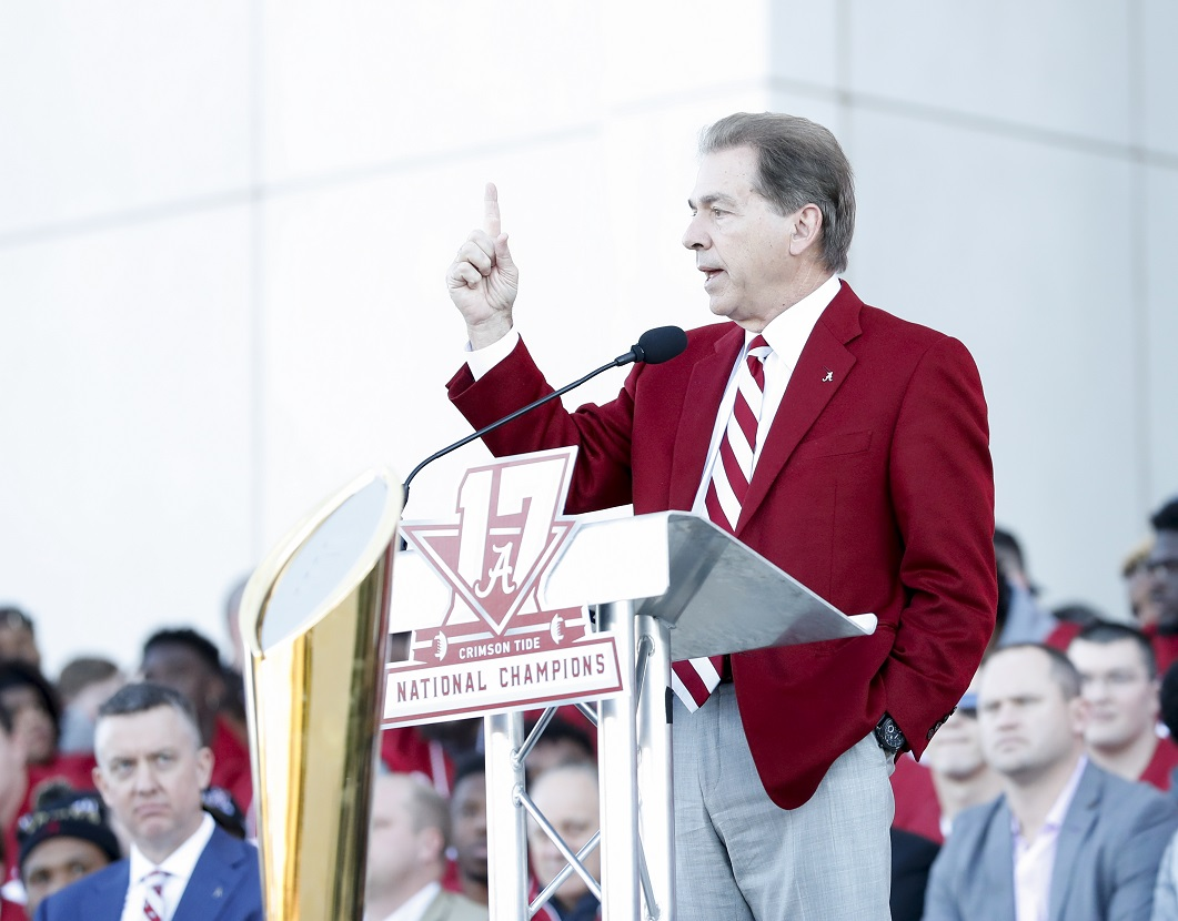 Nick Saban speaks at the national championship celebration. (Amelia B. Barton)