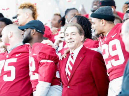 Alabama head coach Nick Saban at the national championship celebration. (Amelia B. Barton)
