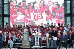 Alabama center Bradley Bozeman (75) speaks to fans. (Kent Gidley)