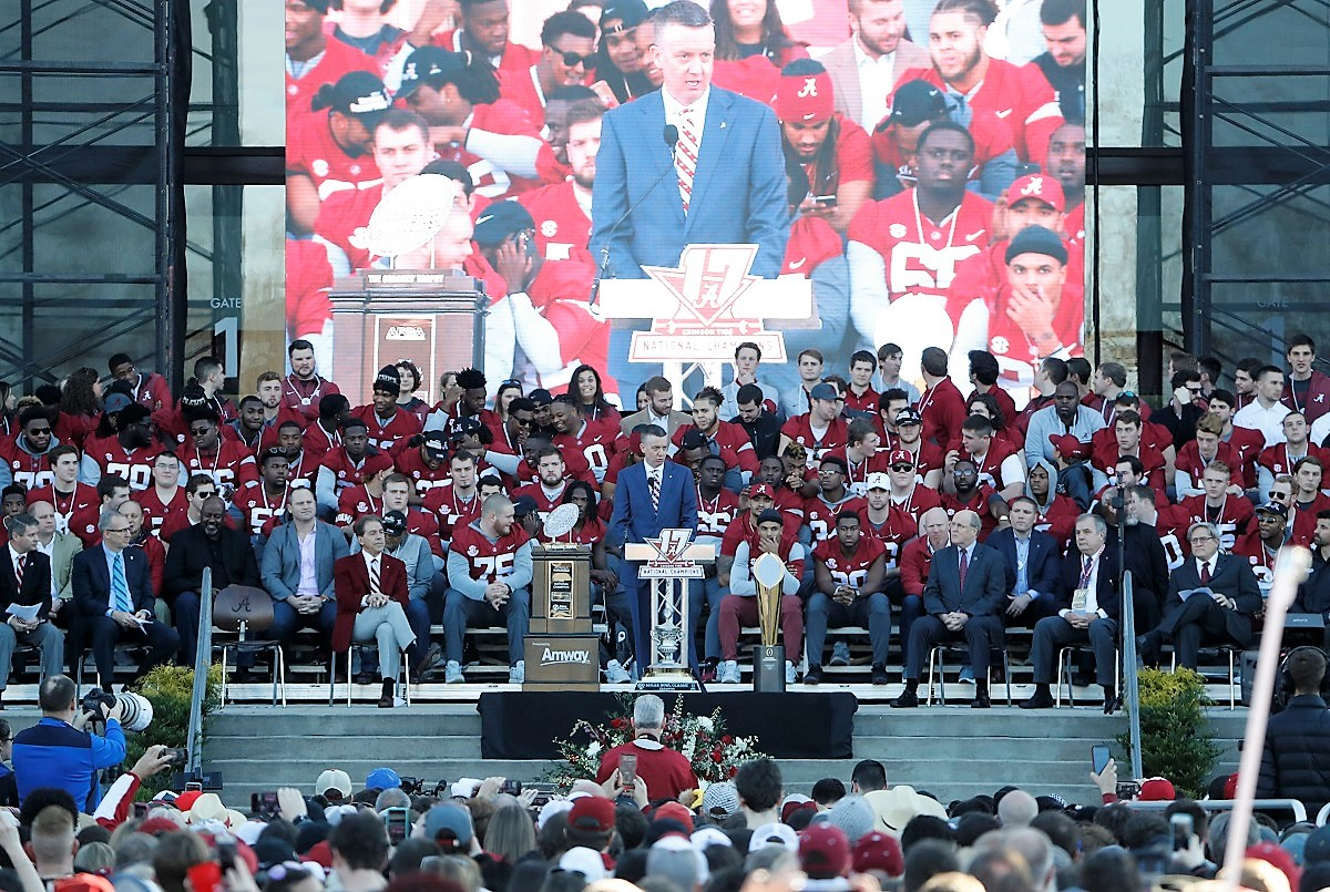 Alabama Athletic Director Greg Byrne speaks at the national championship celebration. (Robert Sutton)
