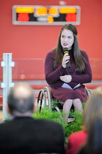 Caitlin McDermott, former University of Alabama women's wheelchair basketball player, speaks during the reception marking the opening of Stran-Hardin Arena. (Matthew Wood / UA Strategic Communications)