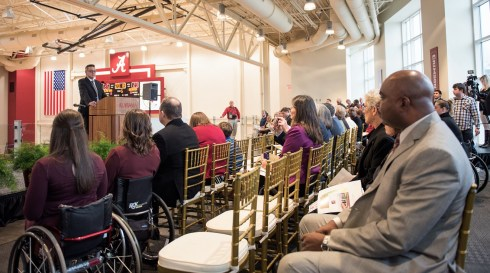 Dr. Peter Hlebowitsh, dean of the UA College of Education, speaks to those attending the opening of UA's Stran-Hardin Arena, built fo the Adaptive Athletics program and named for its leaders. (Zach Riggins / UA Strategic Communications)