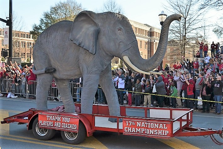 A giant elephant travels down University Boulevard in Tuscaloosa for the parade. (Michael Tomberlin / Alabama NewsCenter)