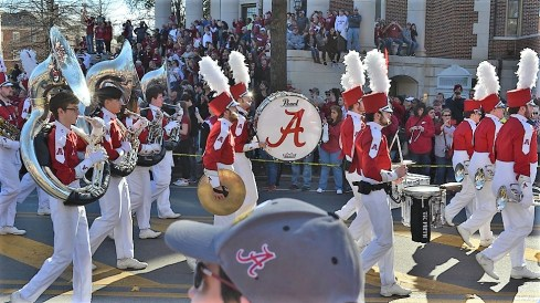 The Million Dollar Band marches in the national championship celebration parade. (Michael Tomberlin / Alabama NewsCenter)