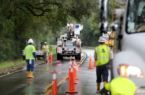 Alabama Power crews work after Hurricane Nate on Monday, Oct. 9, 2017, in western Mobile County, Ala. (Mike Kittrell/Alabama NewsCenter)
