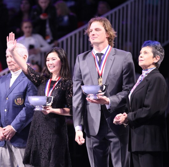 John Zimmerman IV, second from right, is inducted into the U.S. Figure Skating Hall of Fame at a recent ceremony. (Vicki S. Luy / International Figure Skating)
