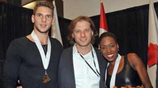Homewood native and Hall-of-Fame figure skater John Zimmerman IV stands between Morgan Ciprès and Vanessa James, the skating pair he coaches. (Susan D. Russell / International Figure Skating)