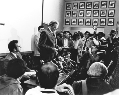 "Coach Paul ""Bear"" Bryant announces his resignation as Alabama's head football coach in 1982. (Contributed)"