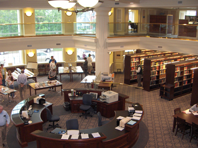 The research room of the Alabama Department of Archives and History in Montgomery was completed in 2005. Contents include state and local government records, Alabama newspapers, census materials, and military records. (From Encyclopedia of Alabama, photo courtesy of Ann Webb)