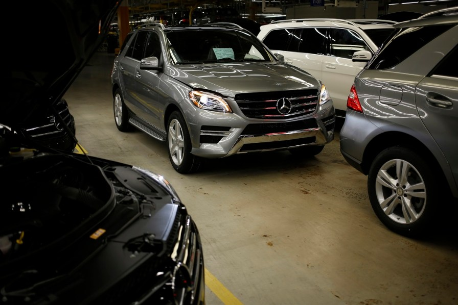 Daimler AG Mercedes Benz M-Class and GL-Class vehicles sit after coming off the production line at the company's international assembly plant in Vance. Mercedes-Benz has used the North American International Auto Show to unveil or showcase Alabama-built vehicles in years past. (Luke Sharrett/Bloomberg)