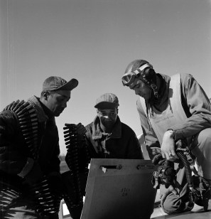 Tuskegee airmen Roscoe C. Brown, Marcellus G. Smith and Benjamin O. Davis, Ramitelli, Italy, March 1945. (Library of Congress Prints and Photographs Division)