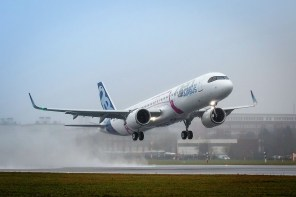 The first A321LR, able to carry up to 240 passengers 4,000 nautical miles, takes to the skies for its maiden flight. (contributed)
