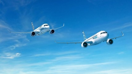 This rendering shows the Bombardier C Series in flight with an Airbus A320 aircraft. (contributed)