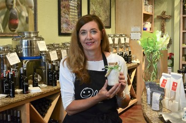The Happy Olive in Fairhope has developed a loyal following for its house-blends of olive oils, balsamic vinegars and mustards, which can be purchased by the bottle and jar or on tap. (Karim Shamsi-Basha / Alabama NewsCenter)