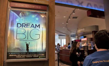 """The students who attended Girls in Engineering Day at McWane Science Center watched the movie """"Dream Big"""" for inspiration. (Brittany Faush / Alabama NewsCenter)"""