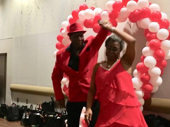 Jackson leads Rice in ballroom dance. (Dona Cope/Alabama NewsCenter)