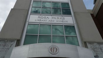 Outside the Rosa Parks Museum in Montgomery. (Bruce Nix/Alabama NewsCenter)