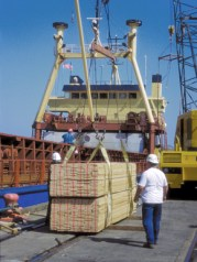 Lumber is loaded onto a ship in the Port of Mobile. Forest products are a major commodity shipped from the port. (From Encyclopedia of Alabama, courtesy of Alabama Seaport)