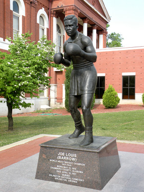 "This eight-foot-tall bronze statue of the ""Brown Bomber,"" Joe Louis, was dedicated near the county courthouse in his home town of LaFayette, Chambers County, in February 2010. The monument was sculpted by Tuscaloosa native Casey Downing Jr. (From Encyclopedia of Alabama, W. Jayson Hill)"