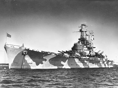 The battleship USS Alabama (BB-60) is seen anchored in Casco Bay, Maine, in December 1942, where its crew trained before deploying to active duty in the North Atlantic in early 1943. (From Encyclopedia of Alabama, U.S. Navy)